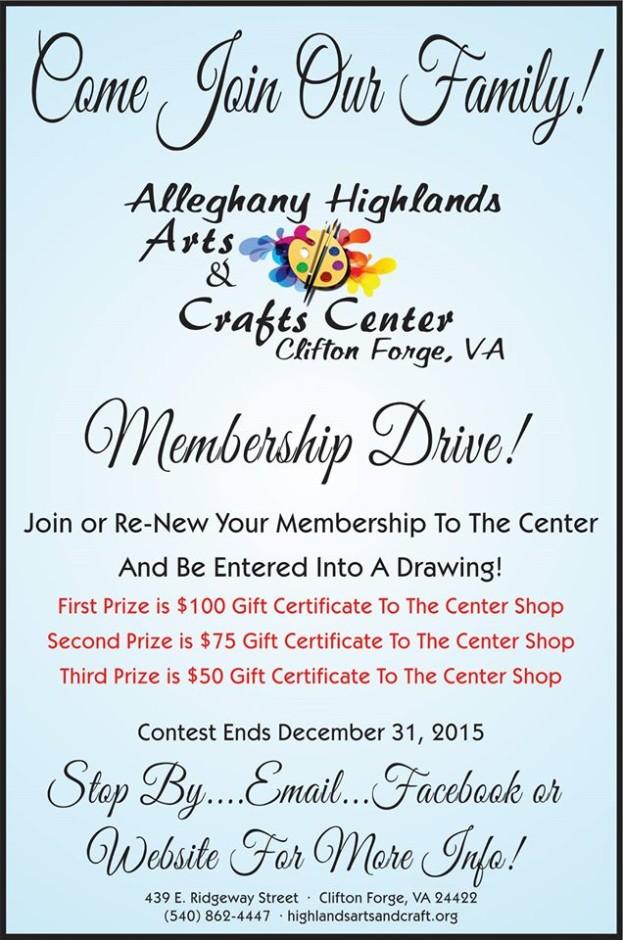 Alleghany Highlands Art Center Membership Drive 2015